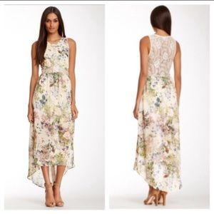 ASTR Lace Illusion High-Low Print Maxi Dress.